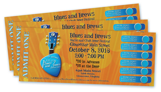 Blues and Brews 16 Ticket Design